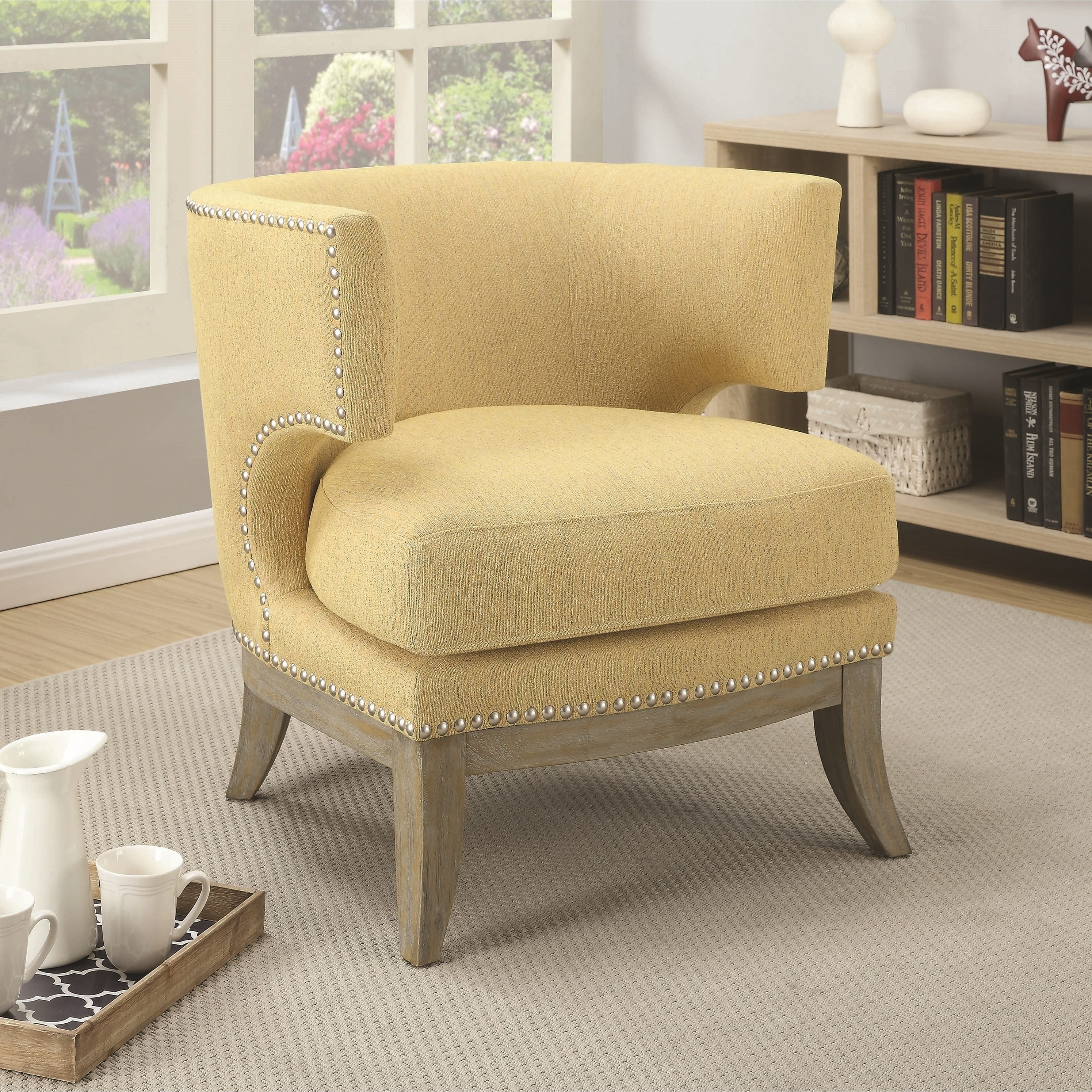 Mid Century Design Yellow Chenille Living Room Accent Chair With Nailhead Trim On Sale Overstock 28426059