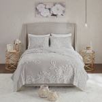 Madison Park Pansy Grey White Tufted Cotton Chenille Floral Coverlet Set On Sale Overstock 28501537