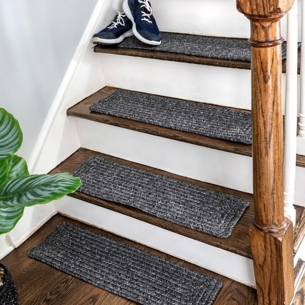 Shop Nuloom Solid Indoor Outdoor Braided Stair Treads Set Of 13   Indoor Outdoor Stair Treads   Rubber Cal   Slip Backing   Waterhog   Nance Industries   Ellsworth Indoor