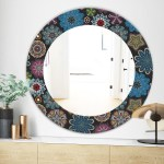 Designart Ornate Floral Texture Bohemian And Eclectic Mirror Oval Or Round Wall Mirror Black On Sale Overstock 28558617