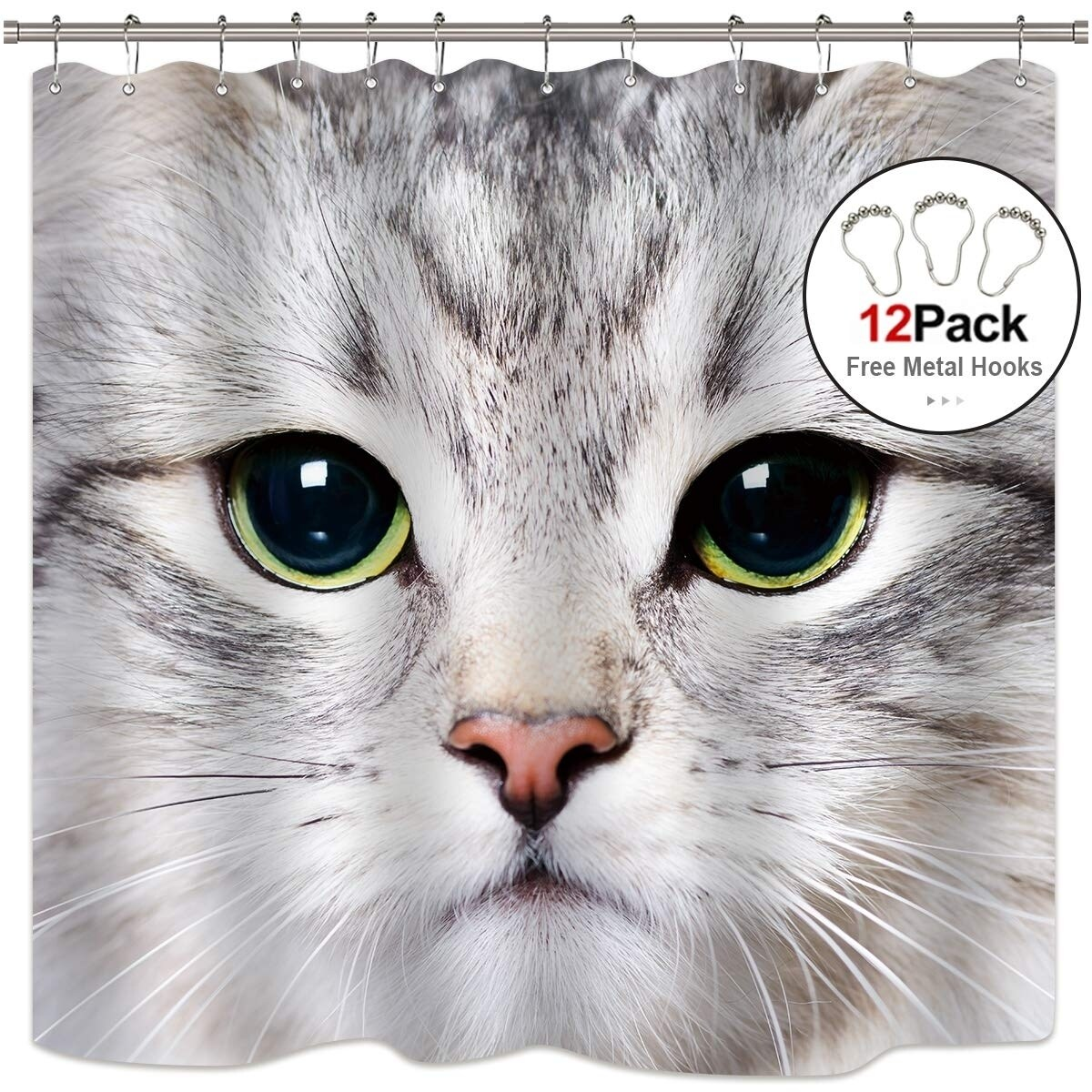 Cute Cat Shower Curtain Panel 12 Pack