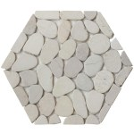 Shop Interlocking Hexagon Shape Pebble Floor Tiles 12 Pack Kitchen Bathroom And Patio Flooring White Grey Overstock 28639558