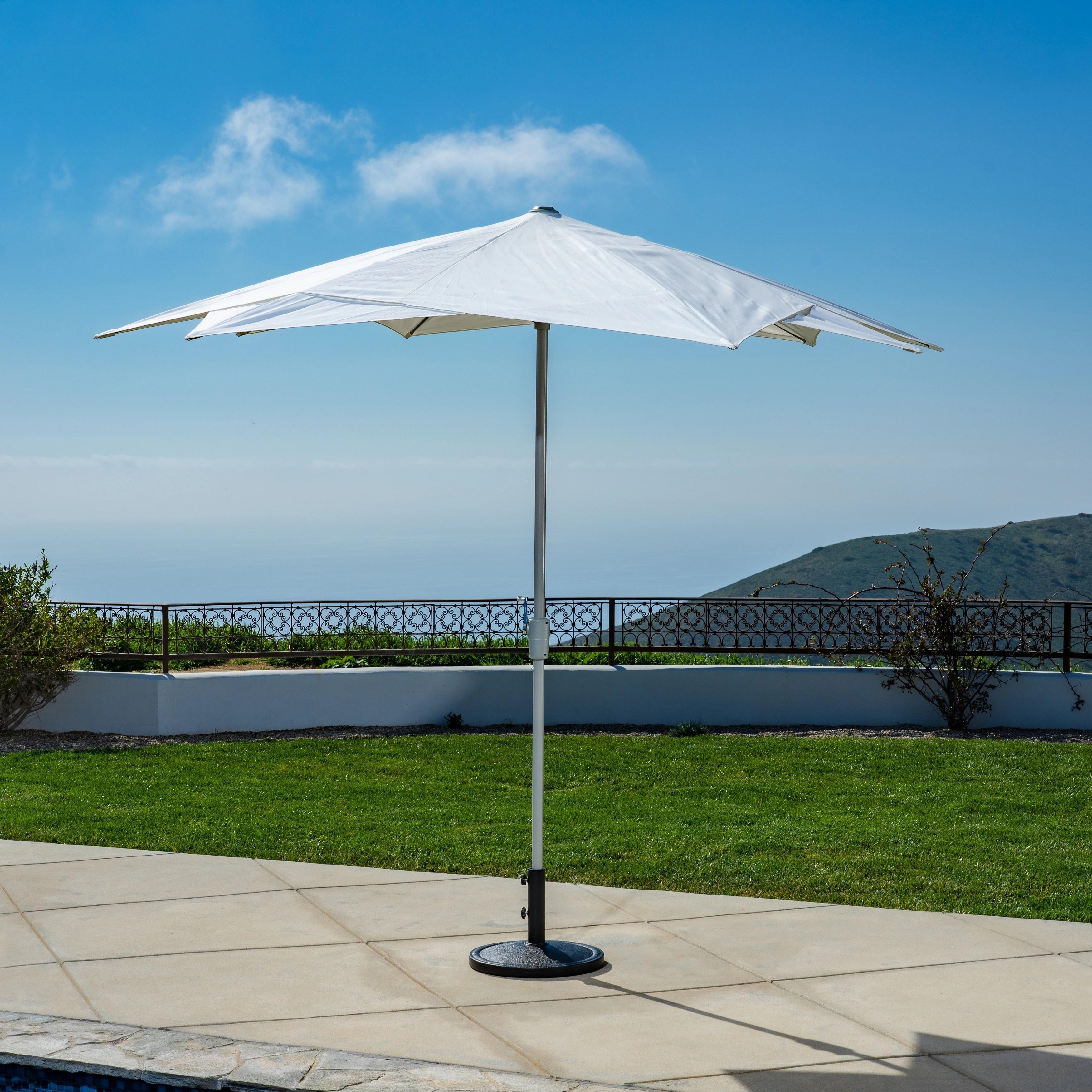 10 ft starburst market umbrella in white olefin fabric base not included