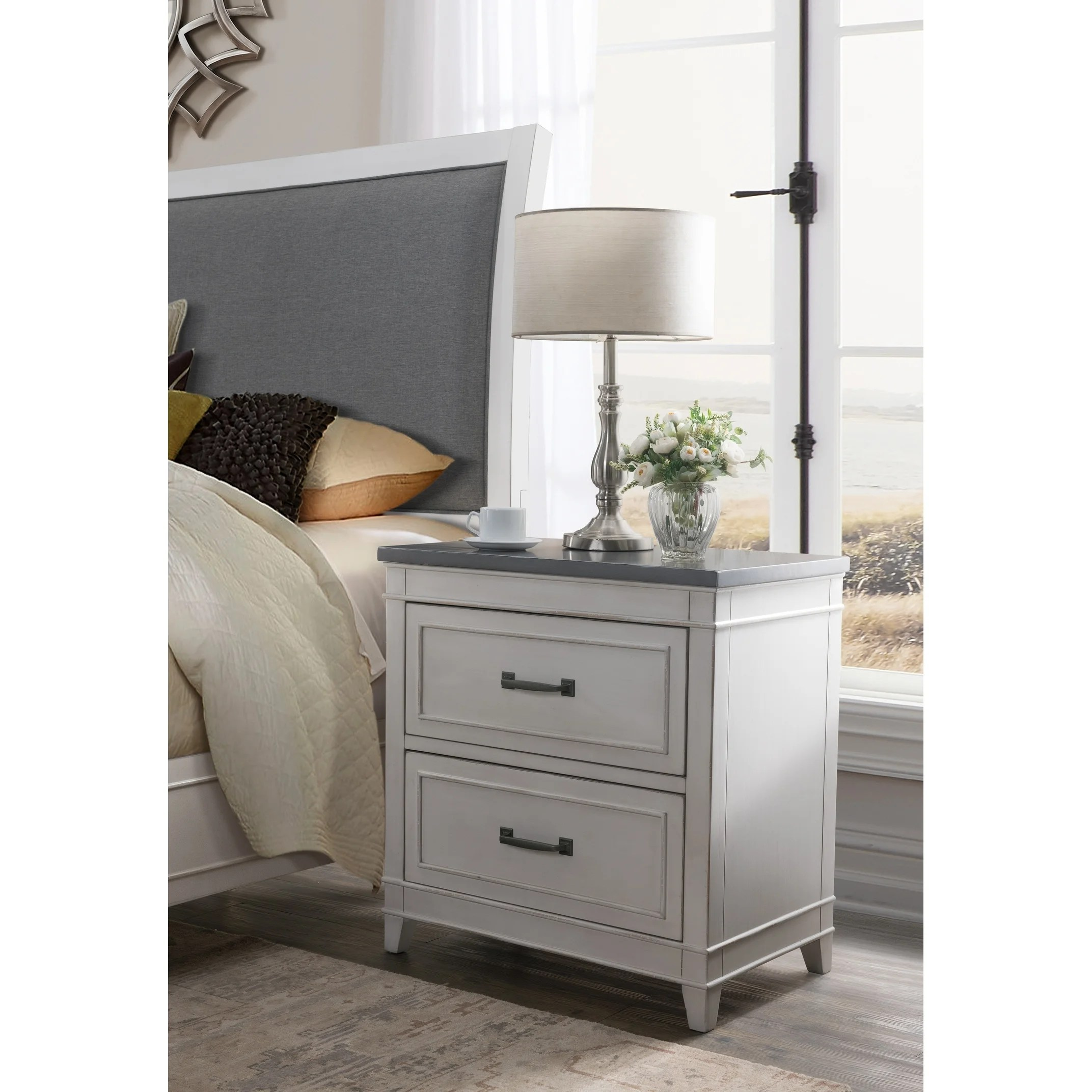 Martin Svensson Home Del Mar 2 Drawer Nightstand White With Grey Top