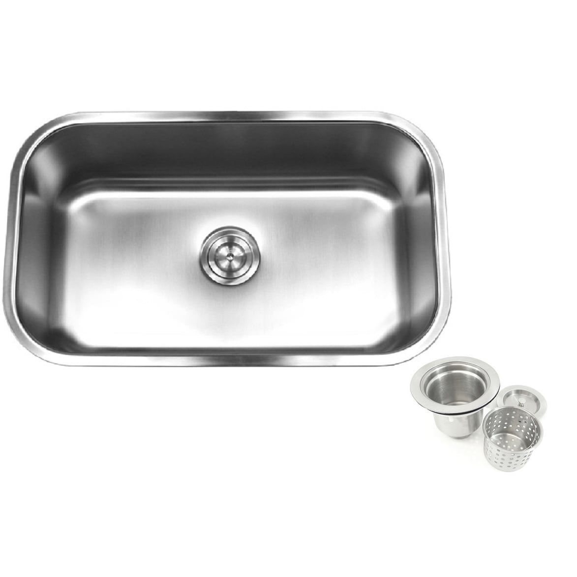 18 gauge t 304 stainless steel undermount 31 1 2 inch single bowl kitchen sink 10 inch deep with deluxe lift out strainer