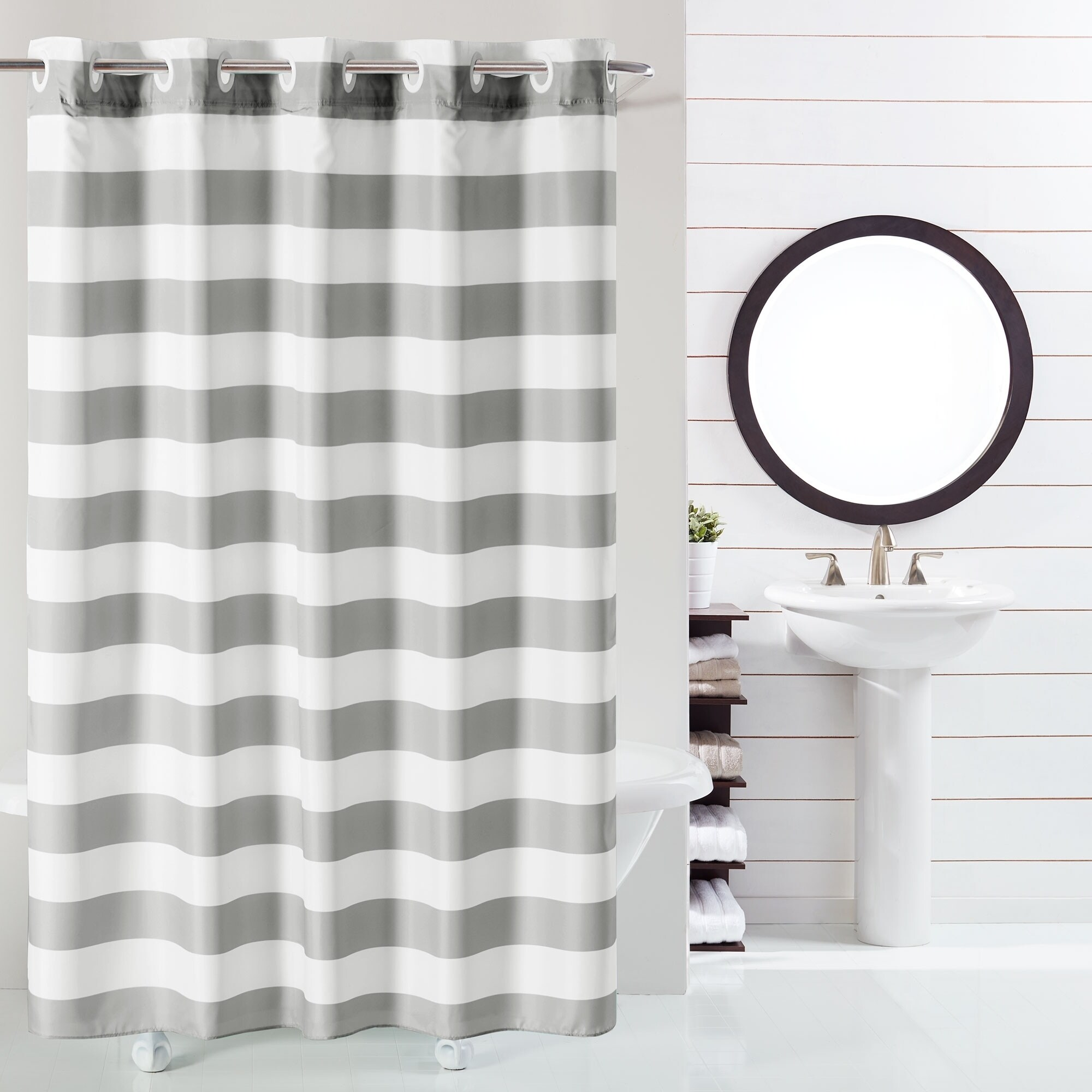 hookless shower curtain cabana stripe no window with liner grey