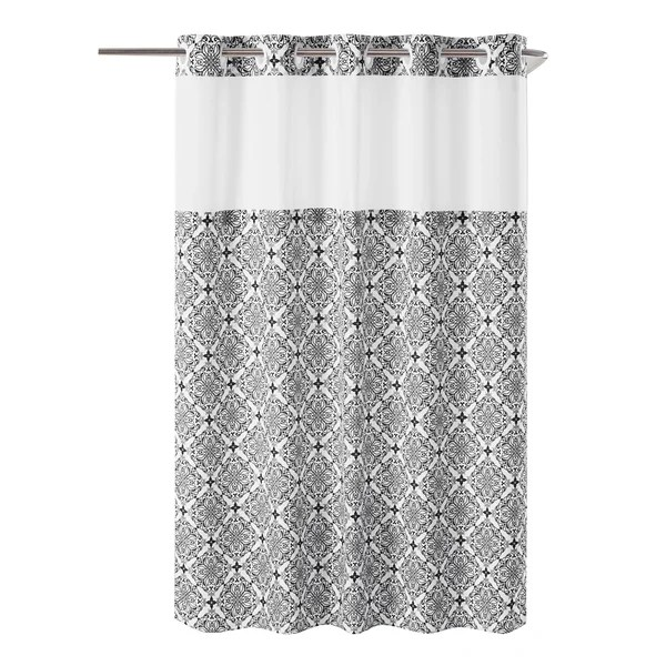 porch den landmark black floral trellis hookless shower curtain with peva liner