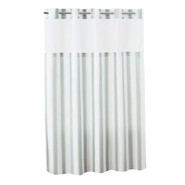 porch den landing grey stripe hookless shower curtain with peva liner