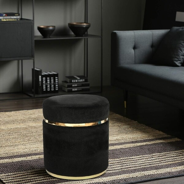 adeco small round ottoman gold plating