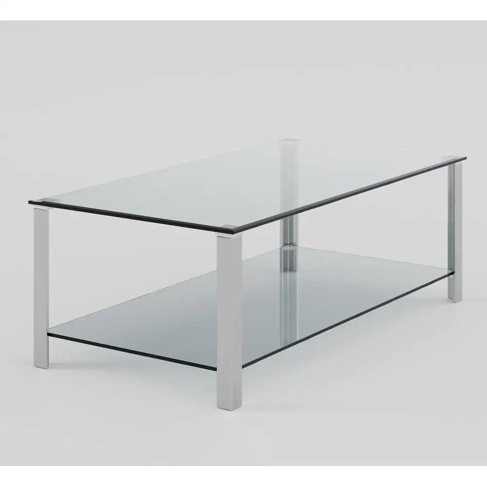 cortesi home melissa double shelf glass coffee table 47