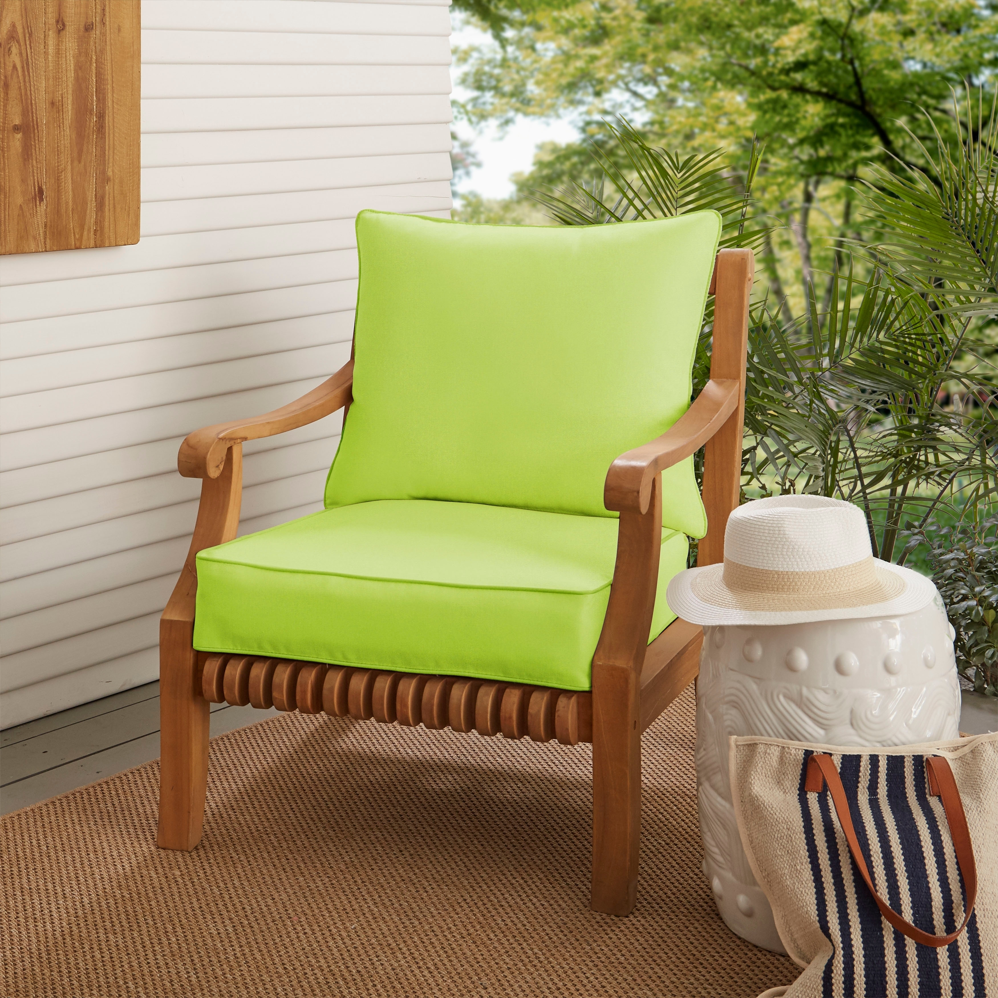 sunbrella light green outdoor deep seating cushion set by havenside home 25 in w x 25 in d