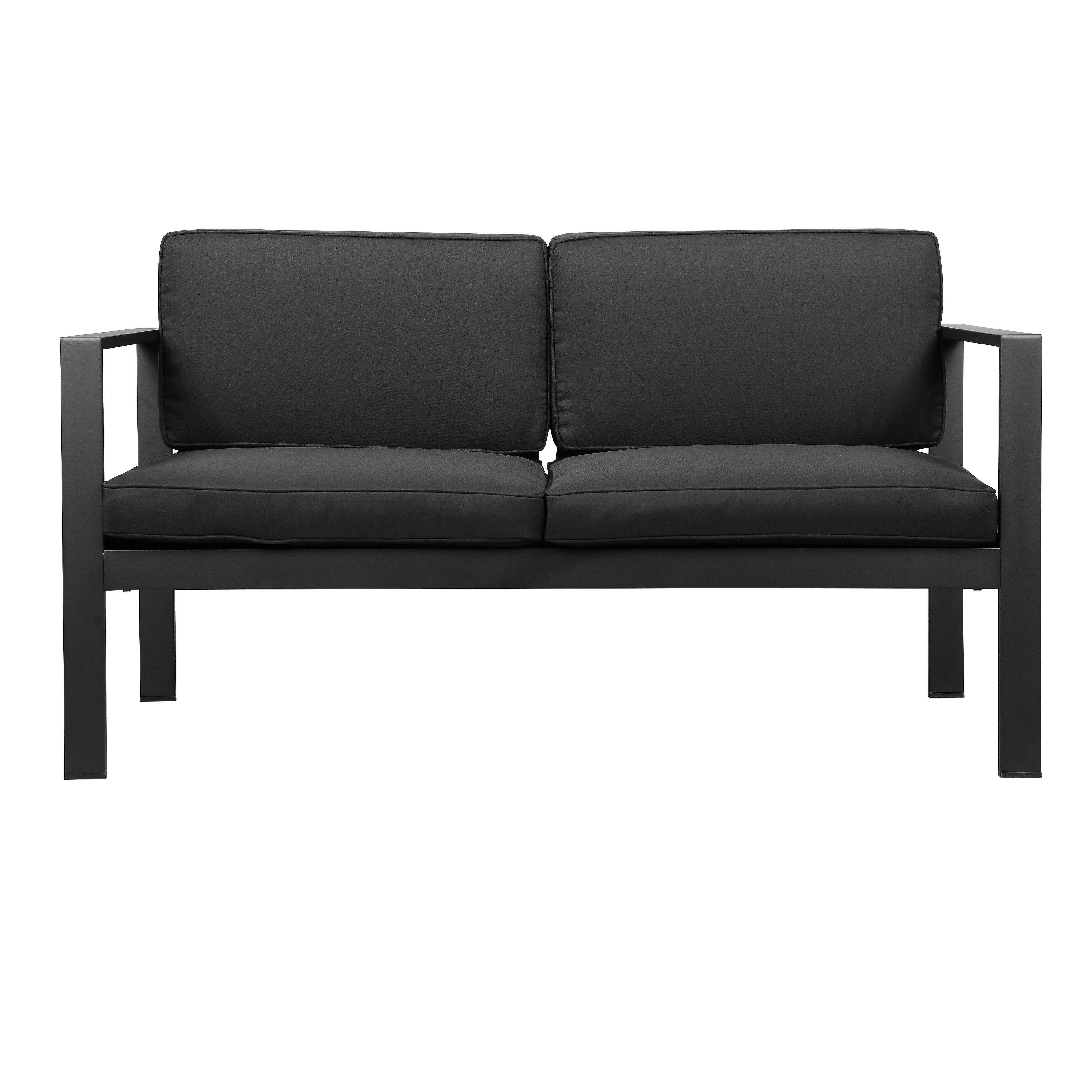 metal framed sofa with removable padded seat and back cushions black