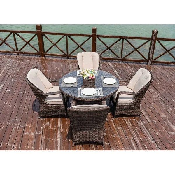 moda 5 piece patio wicker round dining