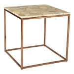 Shop Aurelle Home Natural Marble And Metal Industrial Side Table On Sale Overstock 29056856