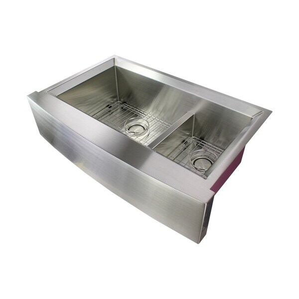 shop transolid studio 36 in 14 gauge undermount double on farmhouse sink lowest price id=24955