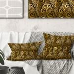 Shop Designart Gold And Black Swirl I Mid Century Modern Throw Pillow Overstock 29063908