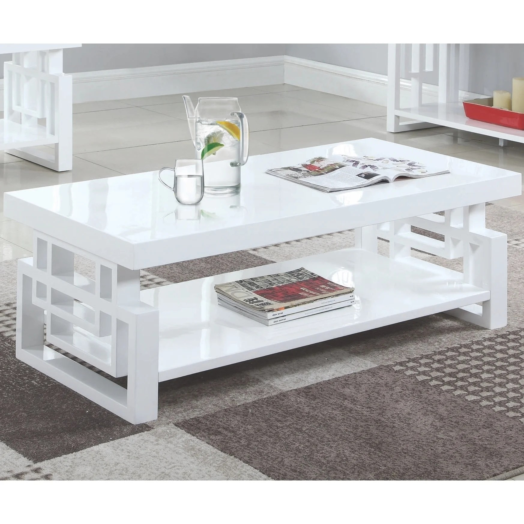 Shop Modern Artistic Design High Glossy White Living Room Table Collection On Sale Overstock 29210670