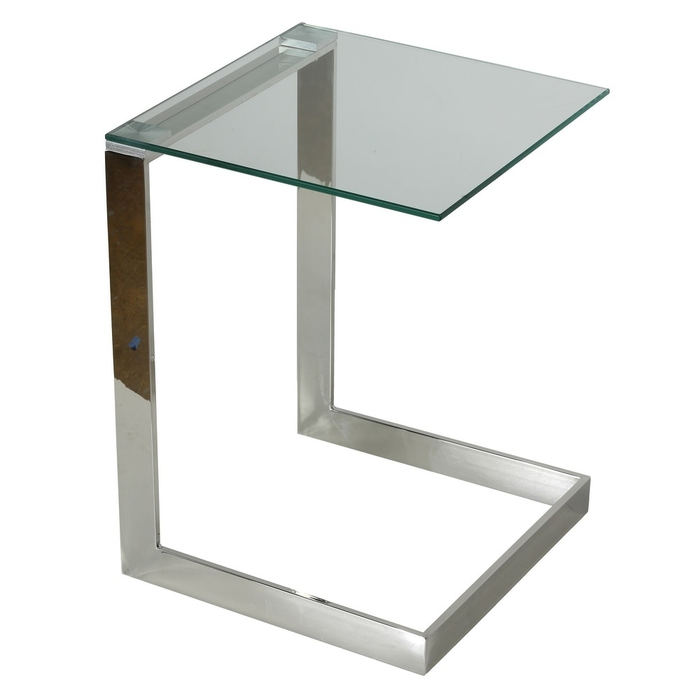 cortesi home zulu end table stainless steel with glass top c shape 16x16