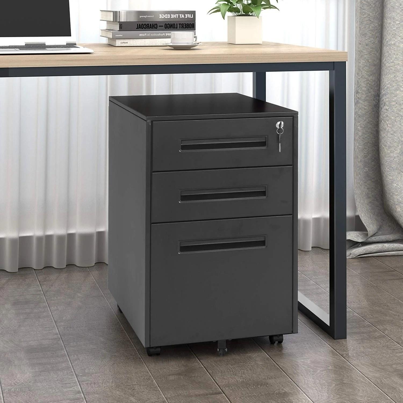 Superday 3 Drawer Rolling Metal Locking File Cabinet B