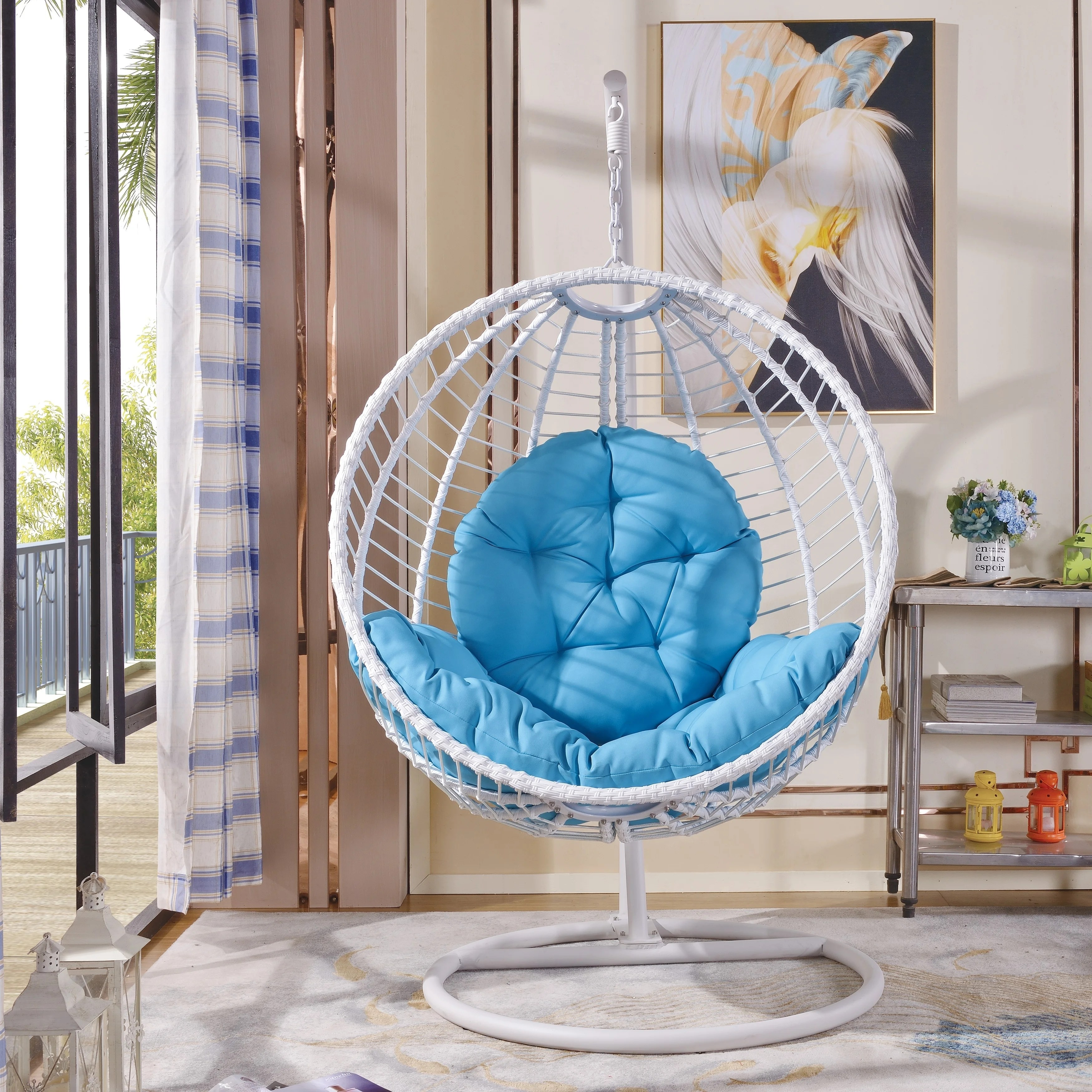 Havenside Home Rowlee Blue Large Hanging Chair With Stand
