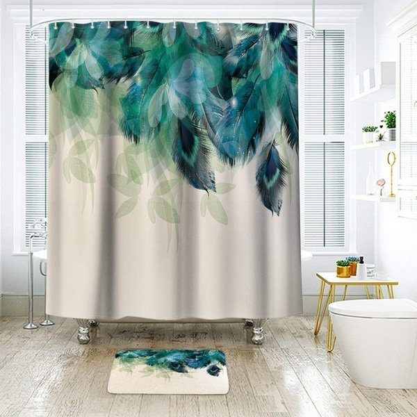 extra long polyester shower curtain with hooks peacock 72 x 78