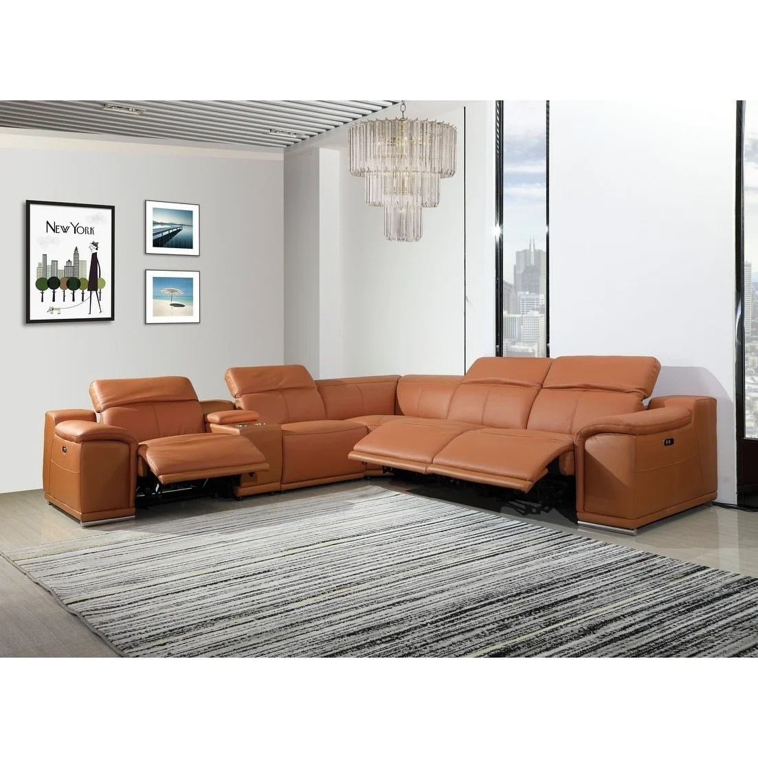 Florence 3 Power Reclining 6pc W 1 Console Leather Sectional Sofa