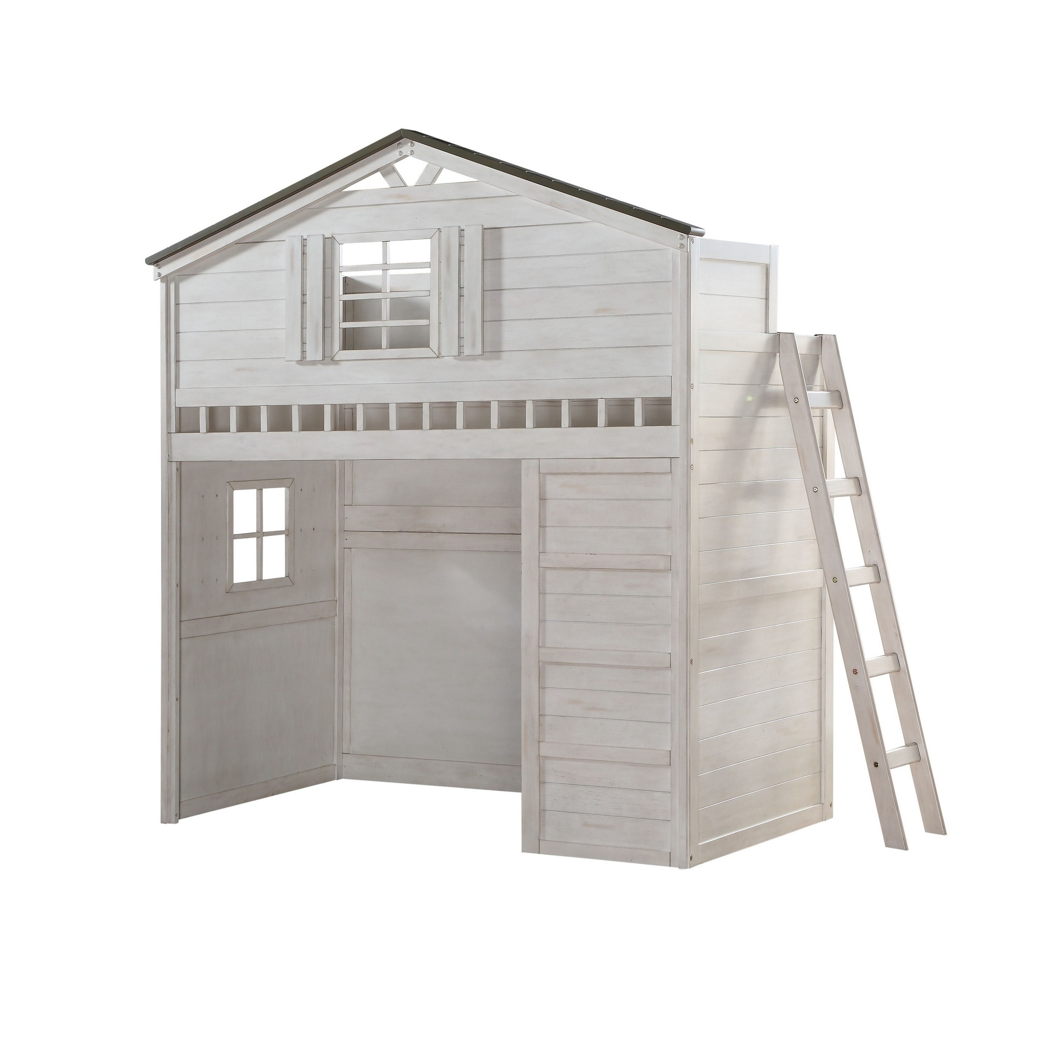 Shop Wooden Tree House Design Twin Size Loft Bed With Desk White And Gray On Sale Overstock 29714329