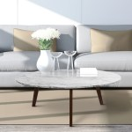 Carson Carrington Tangeberg 31 Inch Round Marble Coffee Table With Walnut Legs On Sale Overstock 29749249