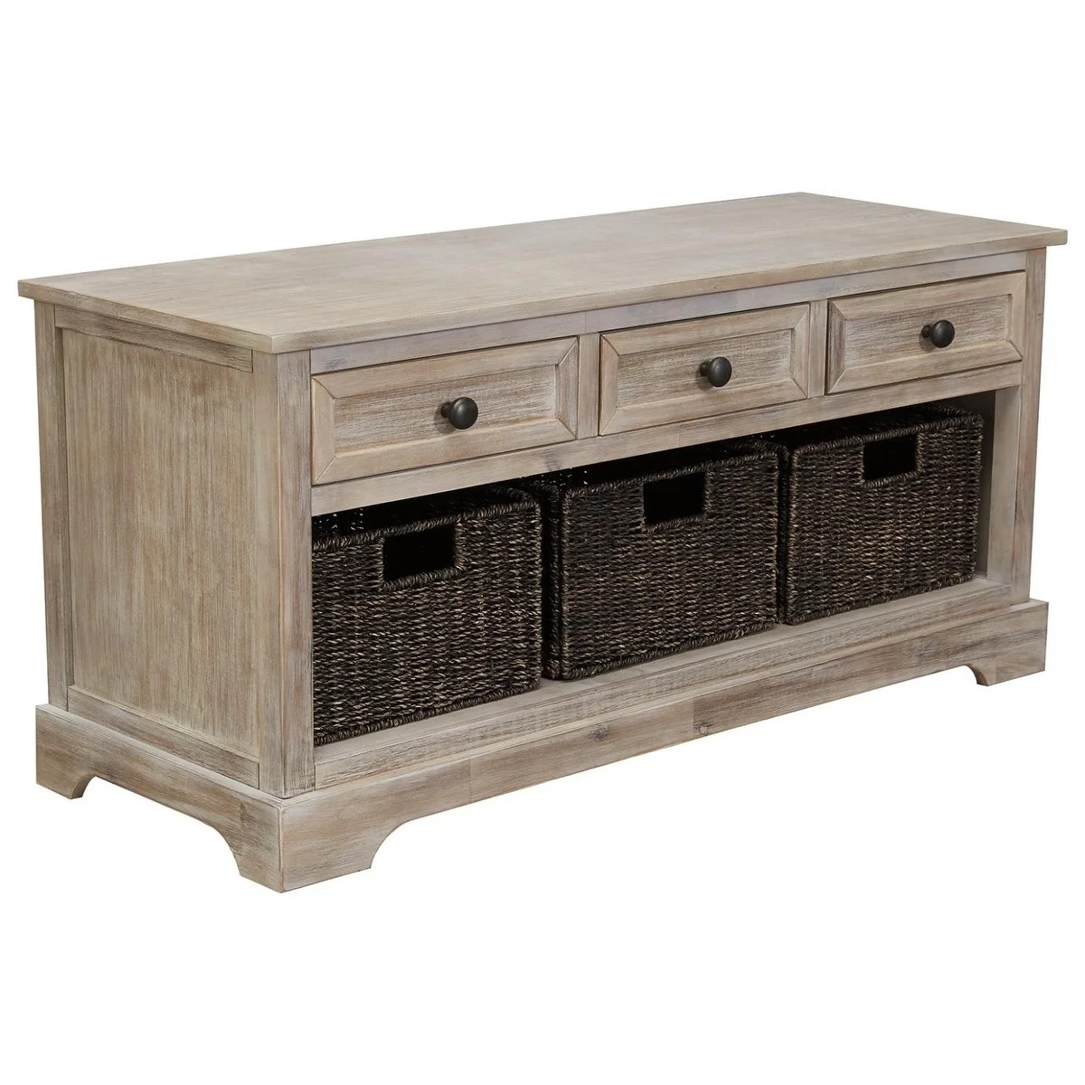 details about storage bench drawers baskets brown rustic organizer entryway home furniture new