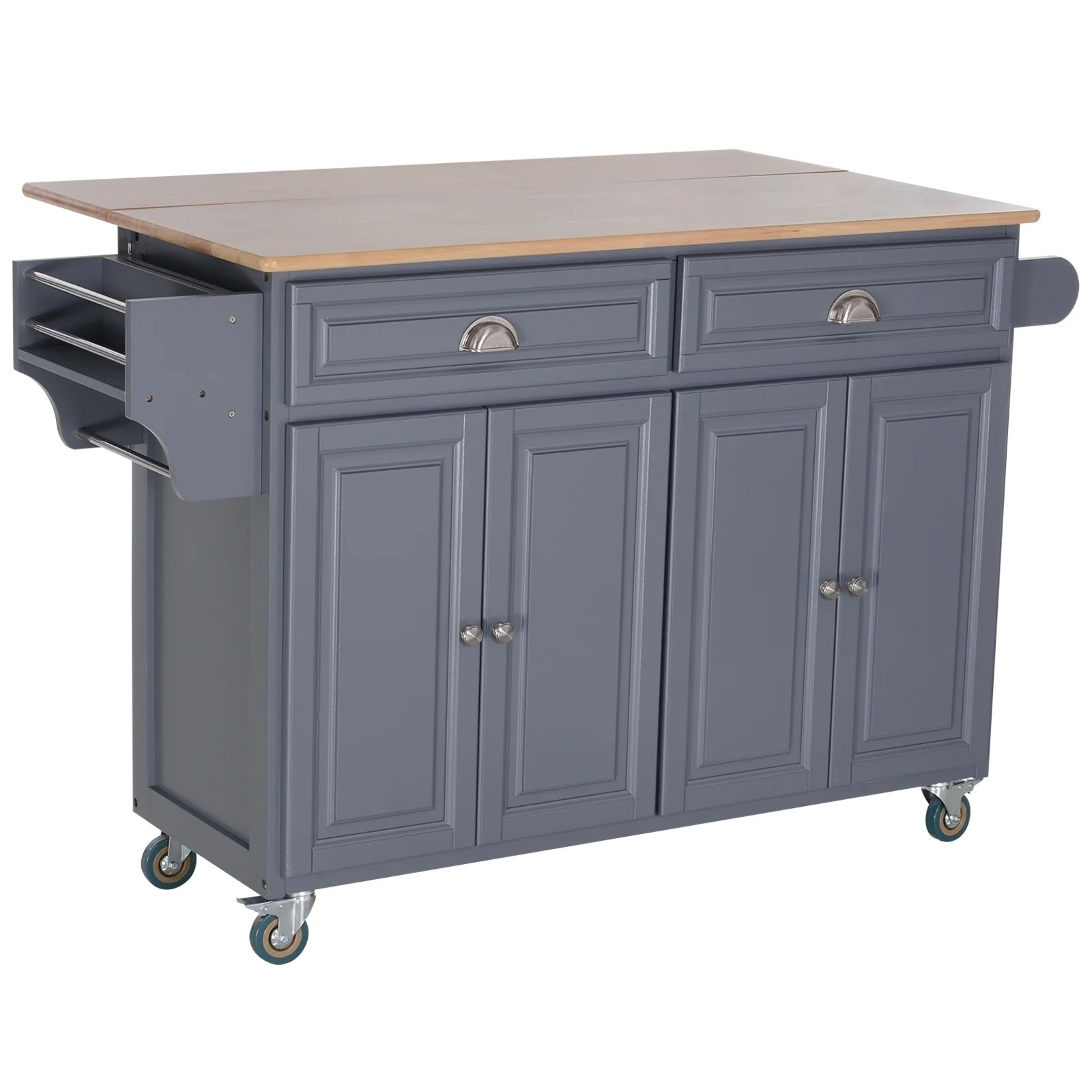 Homcom Rolling Oak Wood Drop Leaf Kitchen Island Cart With Storage And Butcher Block Grey