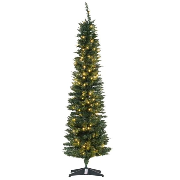 Shop 6 Pvc Pre Lit Slim Pencil Noble Artificial Christmas Tree With Plastic Stand 200 Warm White Led 390 Tip Green On Sale Overstock 29813013