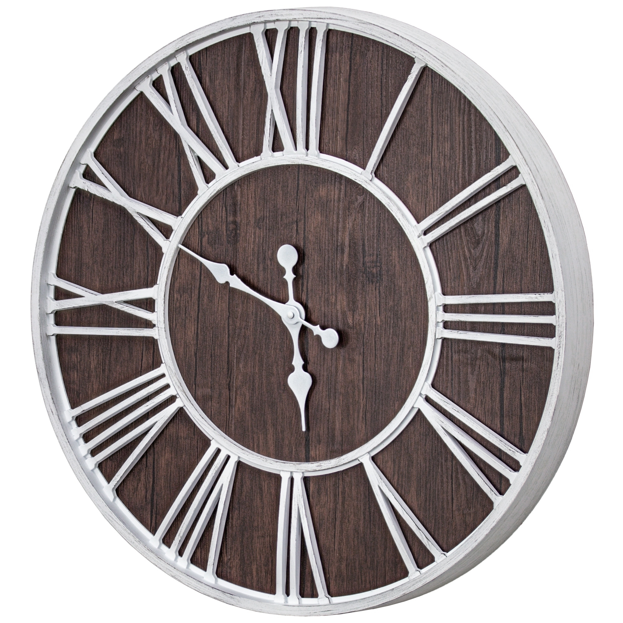 Shop Mdf Plastic Oversized Wall Clock White Dark Brown Veneer 24 Overstock 29869437