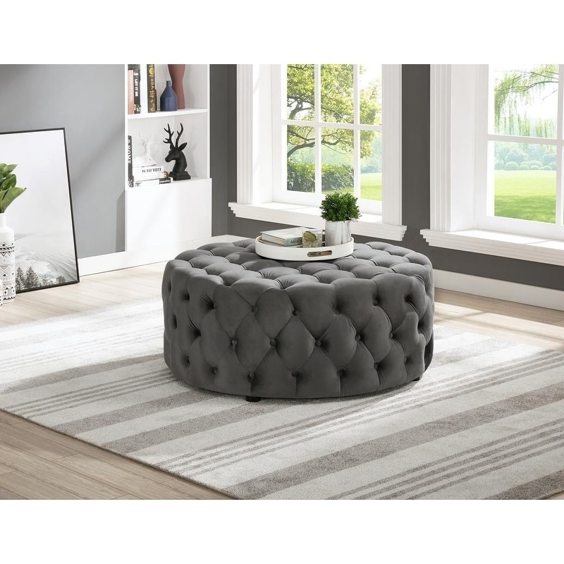 best master furniture upholstered 40 x 40 round tufted accent ottoman coffee table
