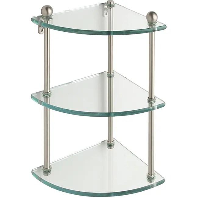Shop Triple-tier Tempered Glass Corner Bathroom Shelf ... on Bathroom Corner Shelf  id=35624