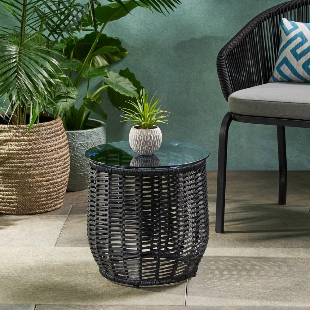 buy wicker outdoor coffee side tables