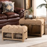 Clement Rustic Transitional Farmhouse Upholstered Storage Ottoman Set