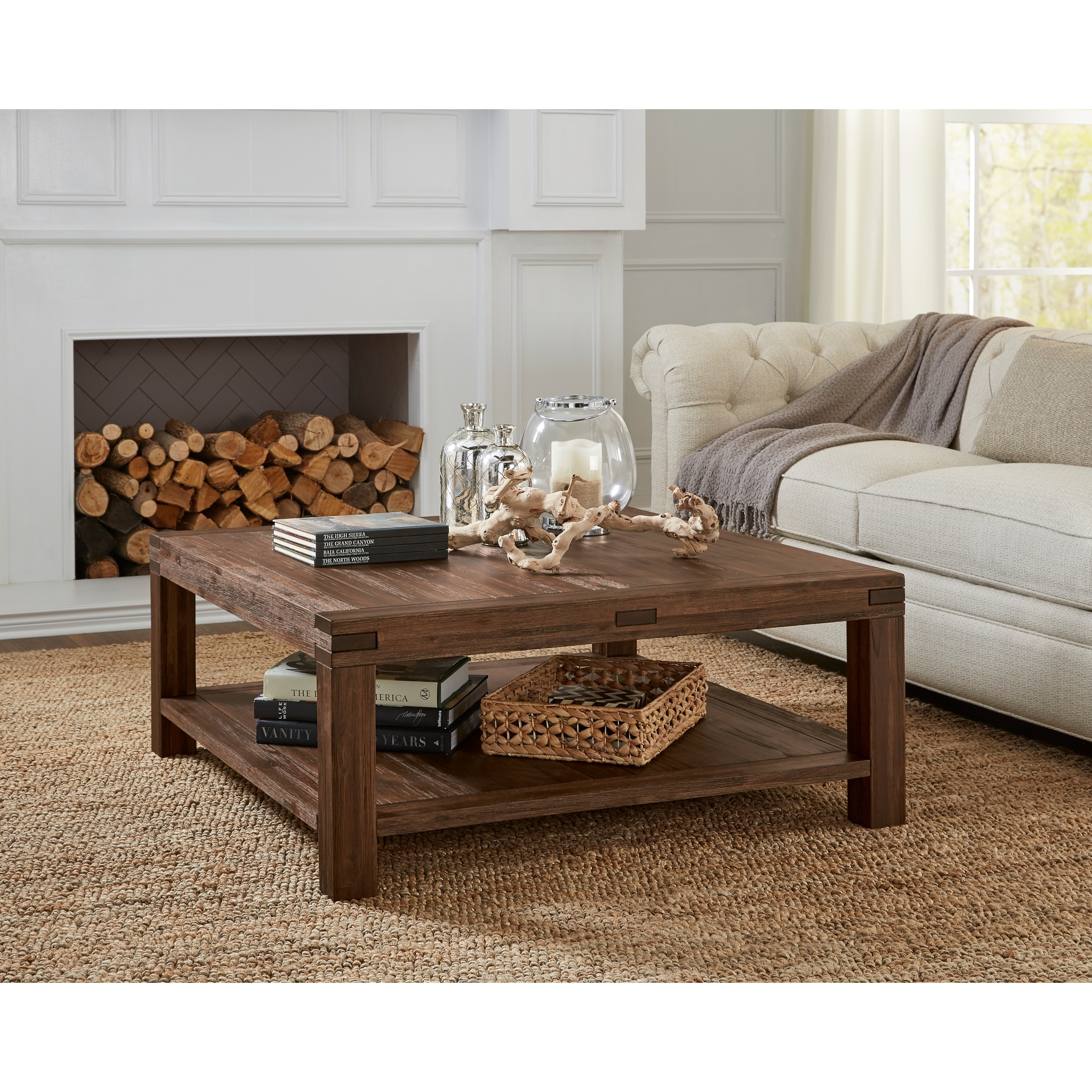 meadow solid wood square coffee table in brick brown
