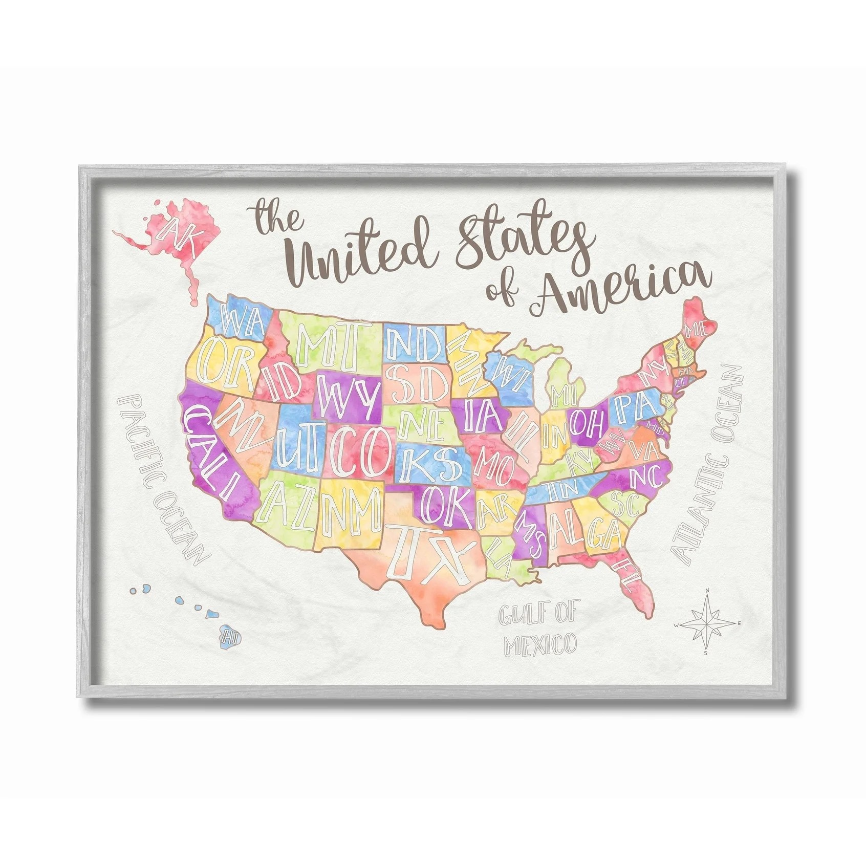 The united states of america is the world's third largest country in size and nearly the third largest in terms of population. The Kids Room By Stupell United States Us Map Water Color Grey Framed 16 X 20 Proudly Made In Usa 16 X 20 Overstock 30334885