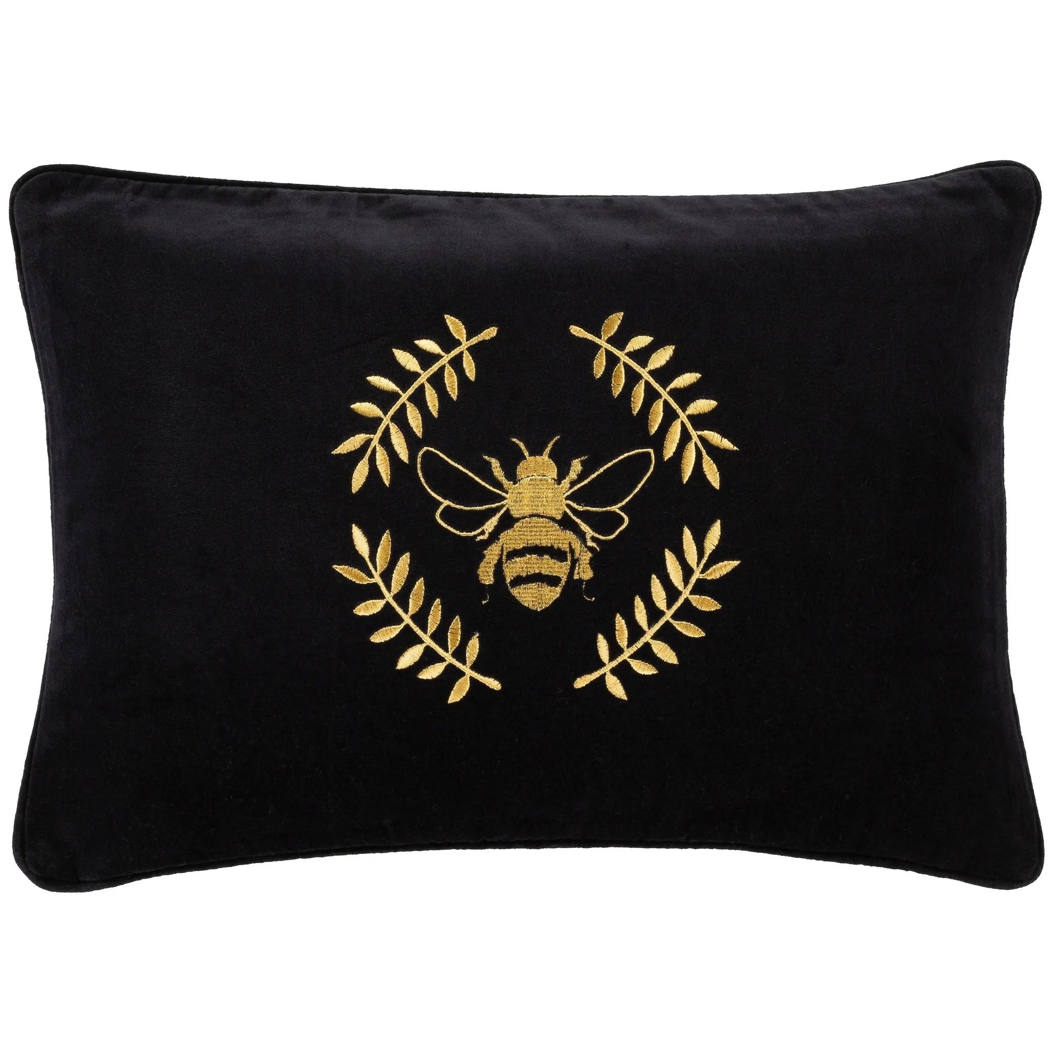 miele bumblebee embroidered velvet 13x20 inch lumbar throw pillow