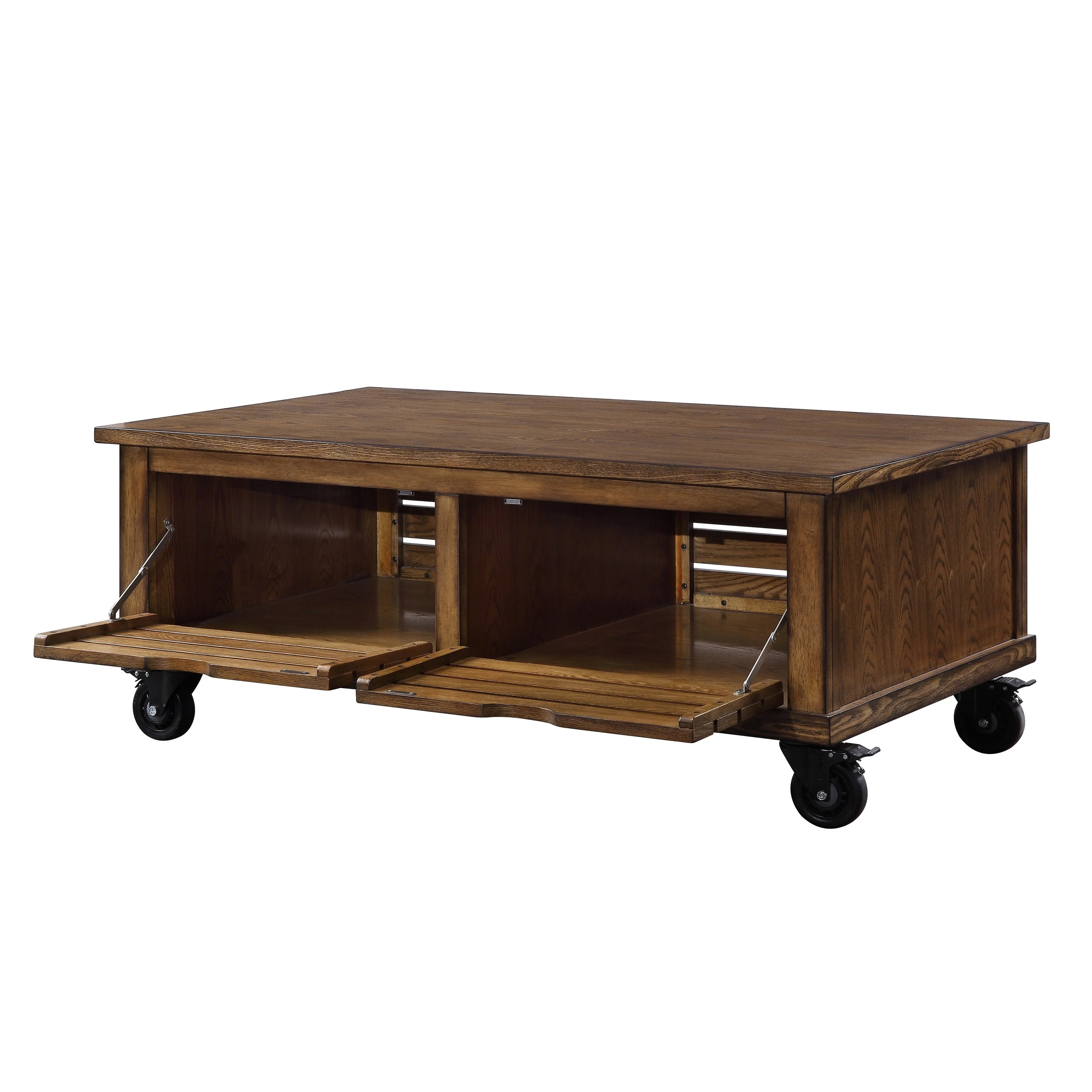 wooden coffee table with drop down storage and caster wheels brown