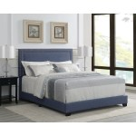 Denim Blue Upholstered Bed With Nickel Nailhead Trim Overstock 30376045 King