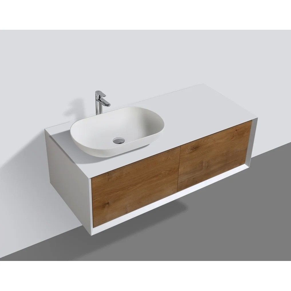 alma fiona 48 inch nature wood finish wall mount vanity with vessel sink sink on the left