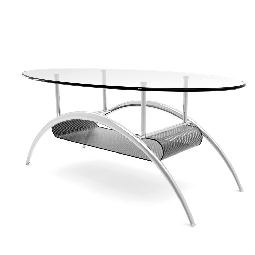 ryan rove ryan rove cleveland contemporary 38 oval glass coffee table with black mesh magazine holder clear glass from overstock com daily mail