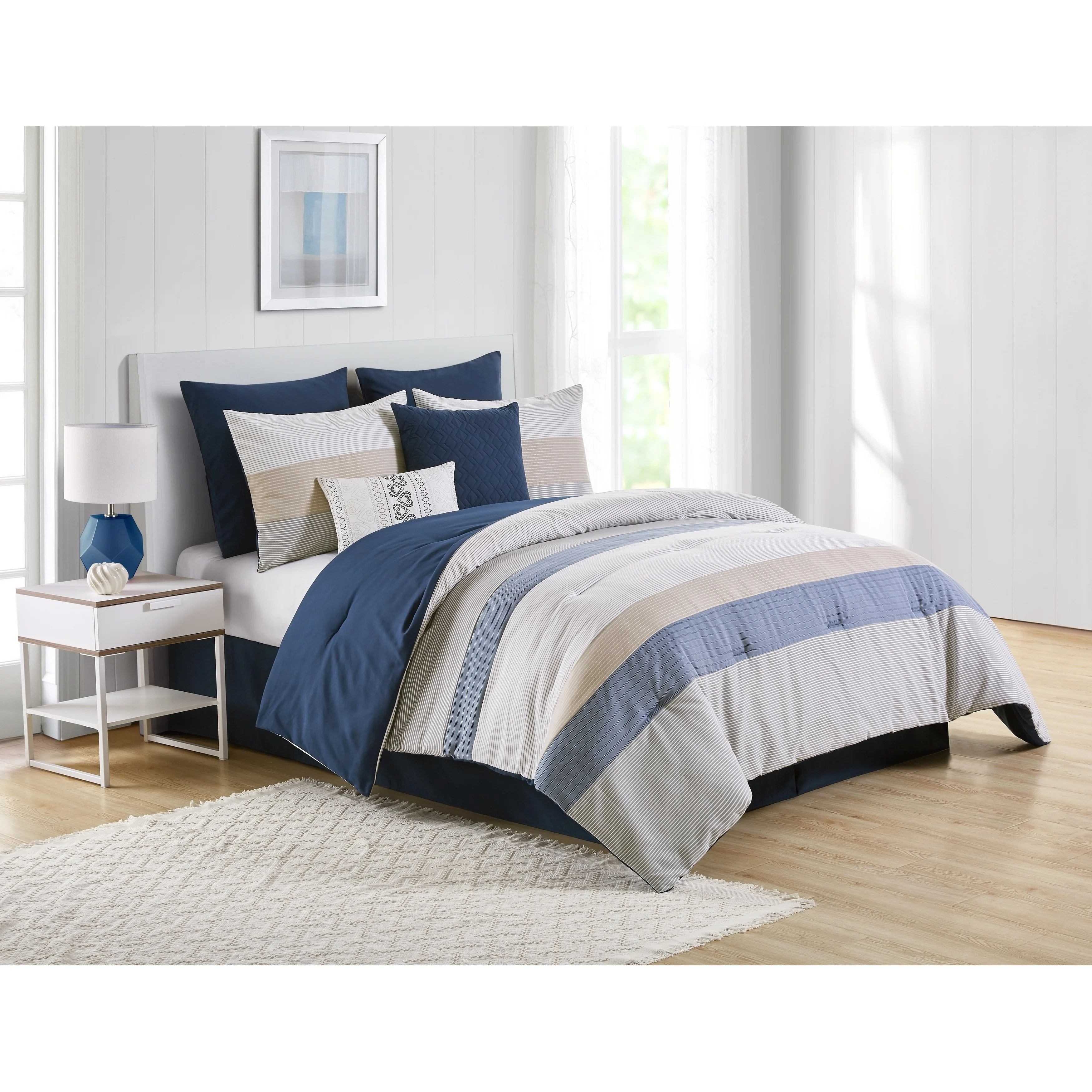 vcny home drover stripe blue and beige comforter set