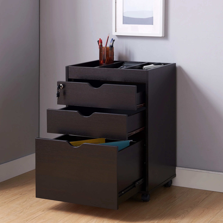 Furniture Of America Vintess Contemporary Mobile Locking File Cabinet