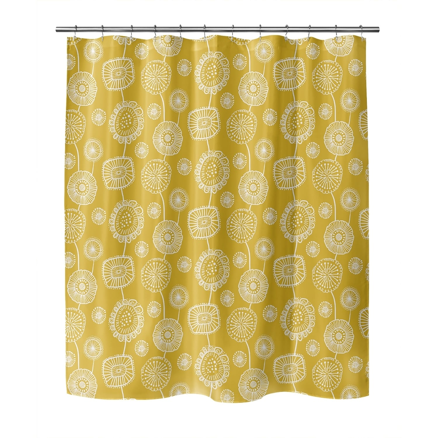 doodle floral yellow shower curtain by kavka designs