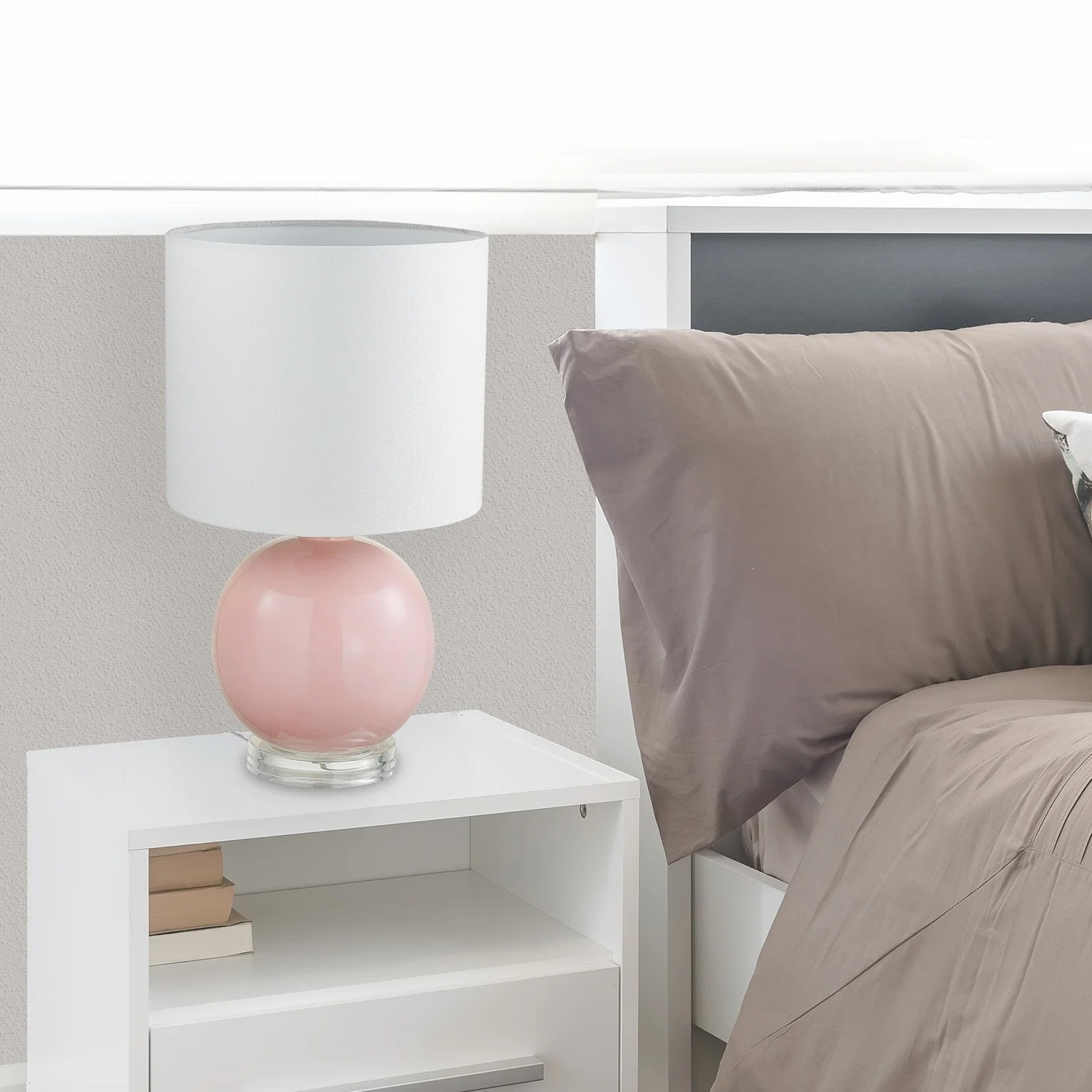Shop Black Friday Deals On Porch Den Rockrose Blush Pink 18 Inch Table Lamp With White Fabric Shade Overstock 30534029