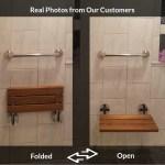 Shop Clevr 20 Teak Modern Folding Shower Seat Bench Clear Coated Medical Wall Mount Overstock 30570087