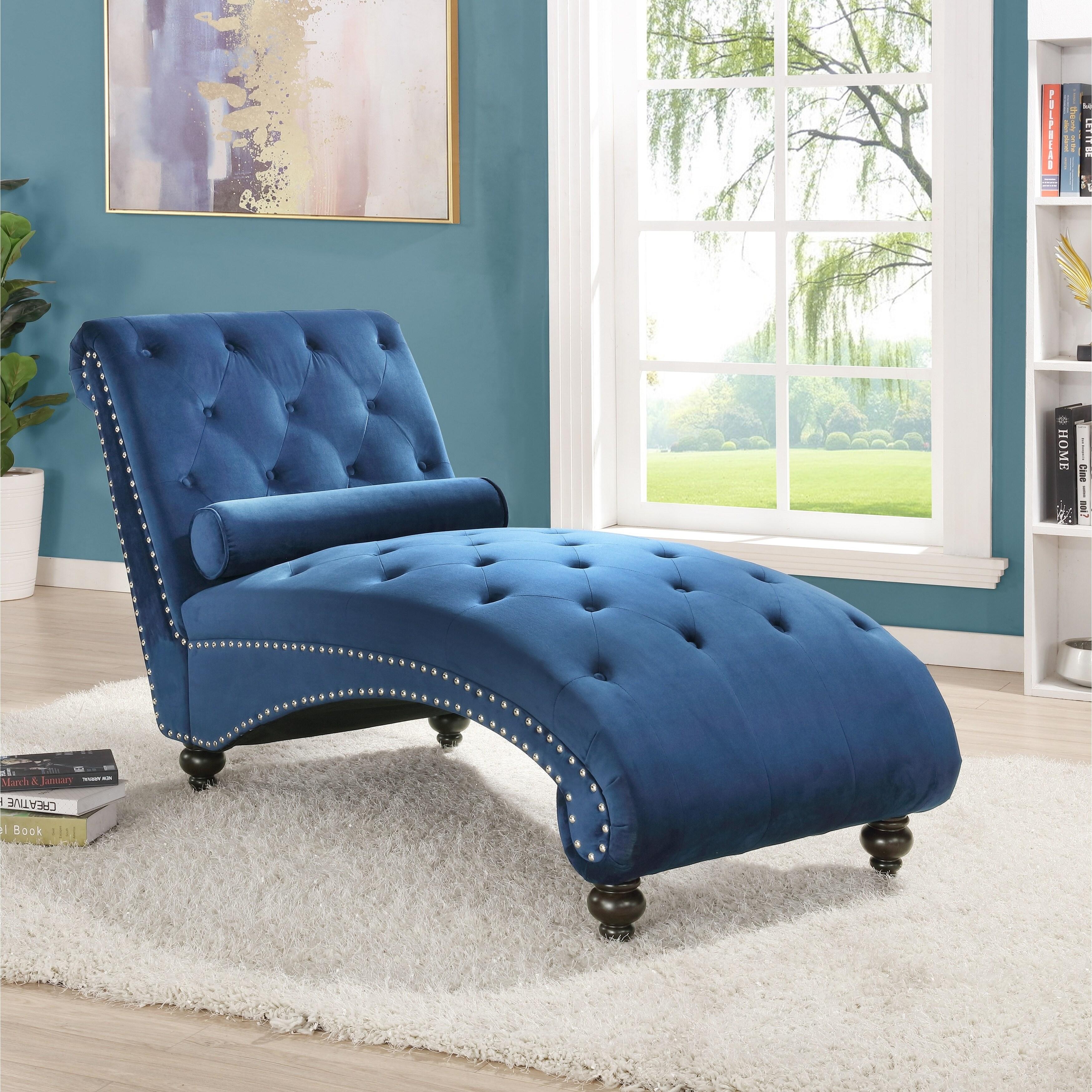 hervey tufted velvet chaise lounge with nailhead trim blue