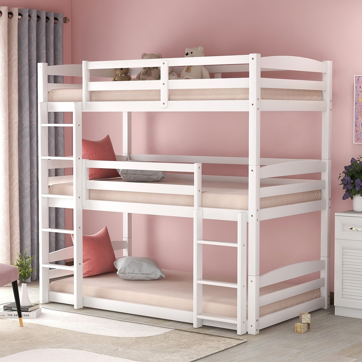 merax wood triple bunk beds with built in ladders twin